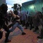 Столкновения протестующих и сотрудников полиции в Боготе, Колумбия. 12 сентября 2020 года