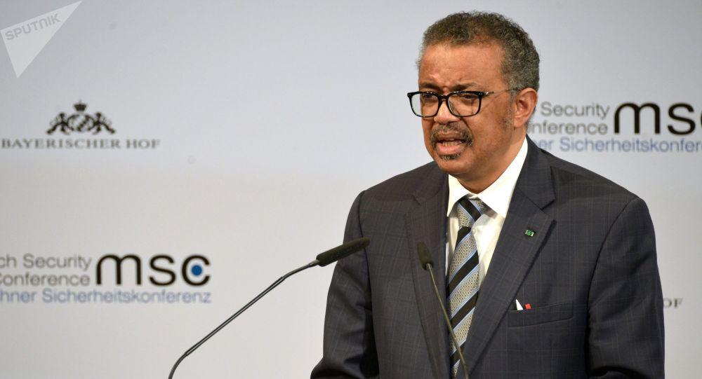 Генеральный директор Всемирной организации здравоохранения (ВОЗ) Тедрос Адханом Гебрейесус во время выступления. Архивное фото