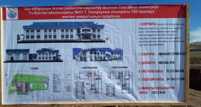 Начало строительствановой школы в Узгенском районе Ошской области