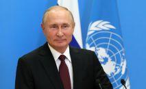 Президент РФ Владимир Путин во время выступления с видеообращением на 75-й сессии Генеральной ассамблеи Организации Объединенных Наций.