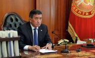 Сооронбай Жээнбеков во время онлайн-совещания с председателем ГКНБ КР Орозбеком Опумбаевым