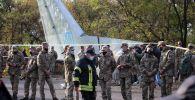 Оцепление месте крушения самолета Ан-26 под Харьковом.