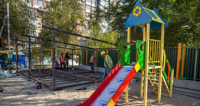 Новый детский сад построенный на месте сгоревшей налоговой службы на улице Тыныстанова 193