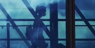 Домодедово аэропортундагы жүргүнчү. Архивдик сүрөт
