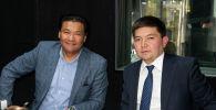 Советник премьер-министра КР Кубат Рахимов и глава Центра климатического финансирования Кыргызстана Канат Абдрахманов во время беседы на радио Sputnik