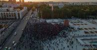 Митинг граждан и представителей партий, недовольных результатами выборов в Жогорку Кенеш на площади Ала-Тоо в Бишкеке с высоты