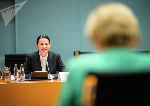 Лидер белорусской оппозиции, экс-кандидат в президенты Белоруссии Светлана Тихановская во время встречи