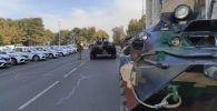 Военная техника на площади Ала-Тоо в Бишкеке