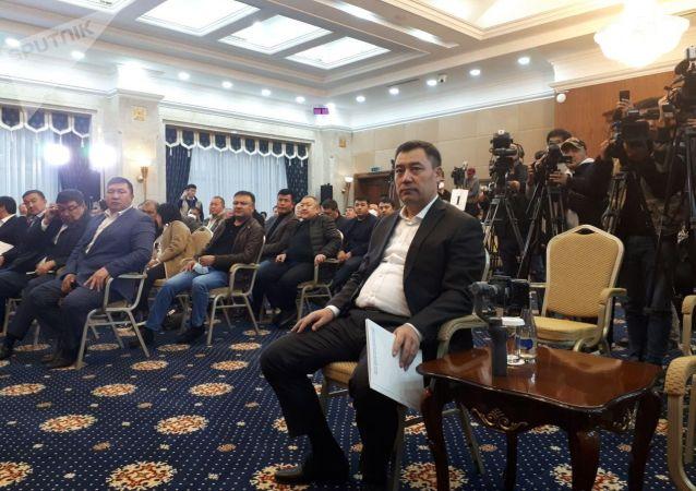 Садыр Жапаров в госрезиденции Ала-Арча, перед началом заседания где будет рассматриваться кандидатура на премьер-министра Кыргызстана