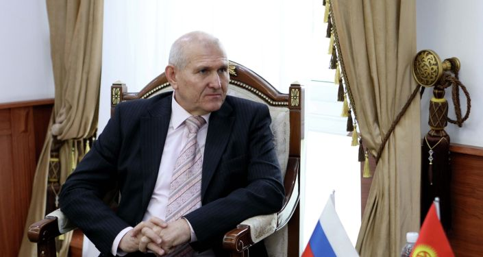 Посол России в КР Николай Удовиченко во время встречи с министром иностранных дел Кыргызстана Русланом Казакбаевым
