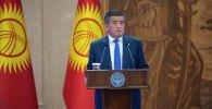 Президент Кыргызстана Сооронбай Жээнбеков на внеочередном заседании Жогорку Кенеша в госрезиденции Ала-Арча
