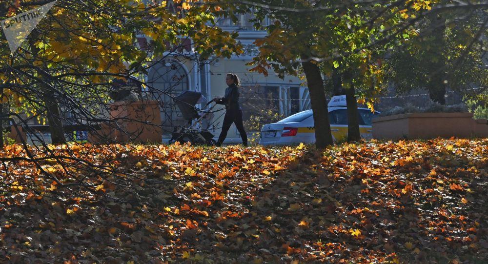 Девушка с коляской во время прогулки по осеннему бульвару