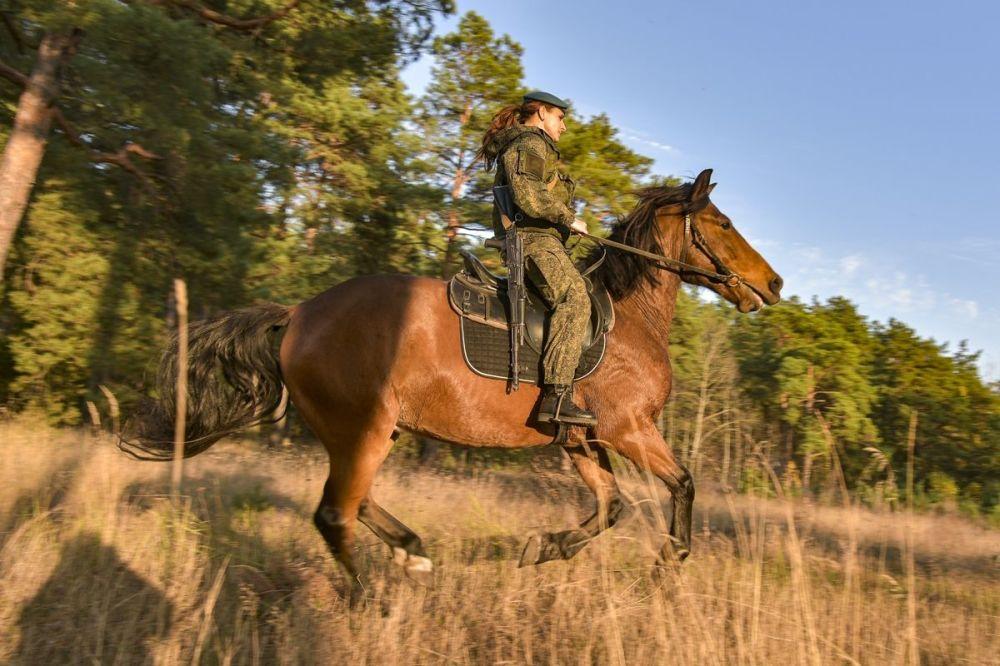 Среди прочего бойцы осваивают и навыки конной подготовки — она жизненно необходима, так как военная техника пройдет не по всякой местности