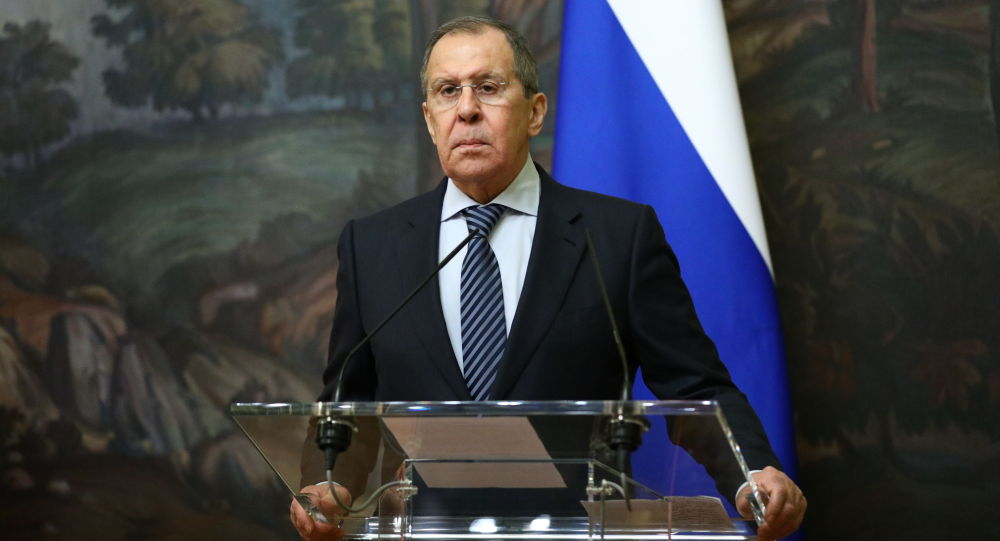 Министр иностранных дел РФ Сергей Лавров во время пресс-конференции в Москве