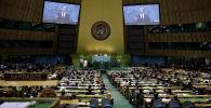 Президент РФ Дмитрий Медведев во время выступления на 64-й сессии Генеральной Ассамблеи ООН с речью. Архивное фото