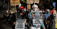 Нью-Йорктто нааразычылык акциясында АКШ президенти Дональд Трамп каршы кишилер