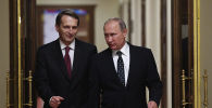 Архивное фото президента РФ Владимира Путина и директора Службы внешней разведки РФ Сергея Нарышкина