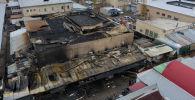 Последствия крупного пожар на Орто-Сайском рынке в Бишкеке