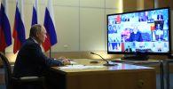 Президент РФ Владимир Путин проводит в режиме видеоконференции заседание Совета глав государств - членов Шанхайской организации сотрудничества (ШОС).