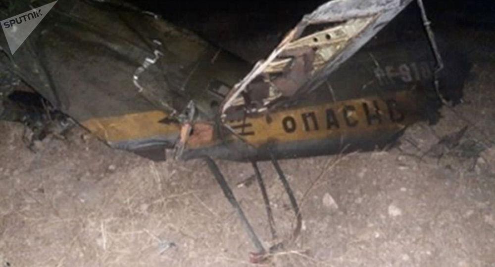 Обломки российского вертолета Ми-24, сбитого в воздушном пространстве над территорией Армении вне зоны боевых действий.