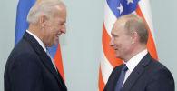 Президент России Владимир Путин и кандидат в президенты США от партии демократов Джо Байден. Архивное фото