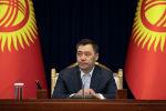 Исполняющий обязанности президента Кыргызстна Садыр Жапаров во время встречи с дипломатическим корпусом в Бишкеке