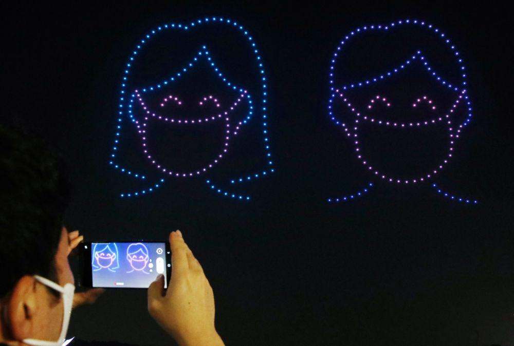 Экөө. Сеулдагы олимпиадалык парктын асманындагы дрондор тартуулаган шоу