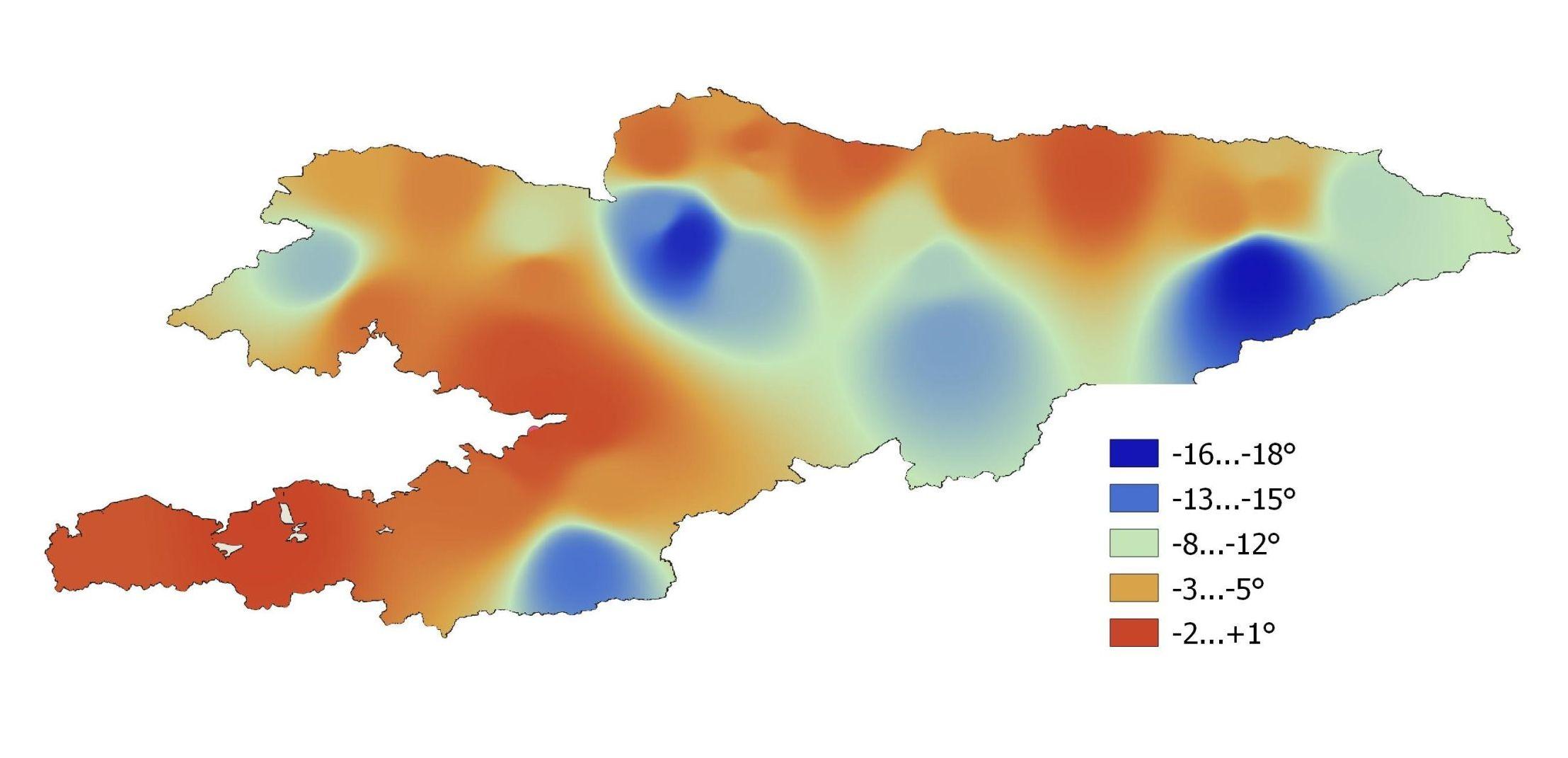 Среднемесячная температура по Кыргызстану в декабре 2020 года