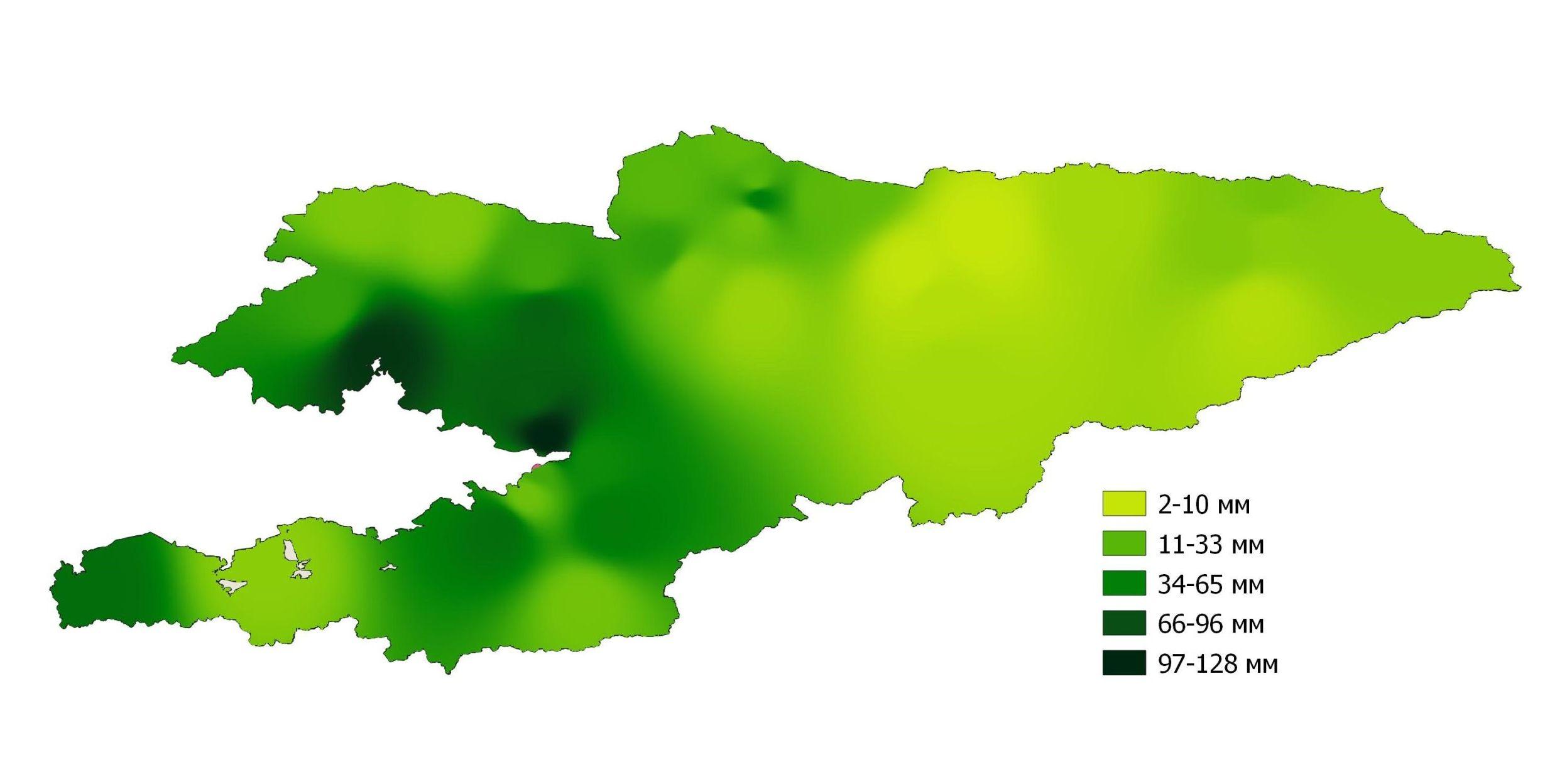Световая карта среднемесячного количества осадков по Кыргызстану в декабре 2020 года