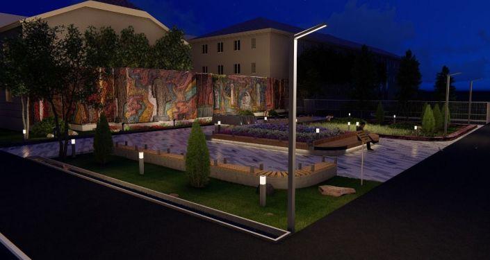 Эскиз нового парка на пересечении проспекта Молодой Гвардии и улицы Токтогула в Бишкеке
