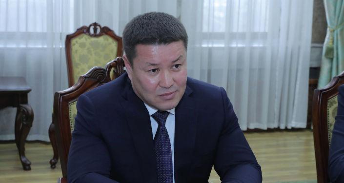 И.о президента КР, торага Жогорку Кенеша Талант Мамытов во время встречи с чрезвычайным и полномочным послом Казахстана в Кайратом Нурпеисовым