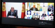 Секретарь Совета безопасности КР Рыскелди Мусаев во время участия на восьмой встрече секретарей советов безопасности государств — участников СНГ, прошедшей в формате видеоконференции