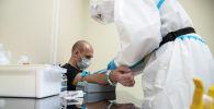 Медицинский работник берет образец крови у пациента
