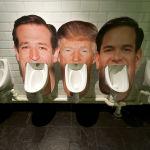Портреты Дональда Трампа, Теда Круза и Марко Рубио над писсуарами в уборной одного из лондонских пабов