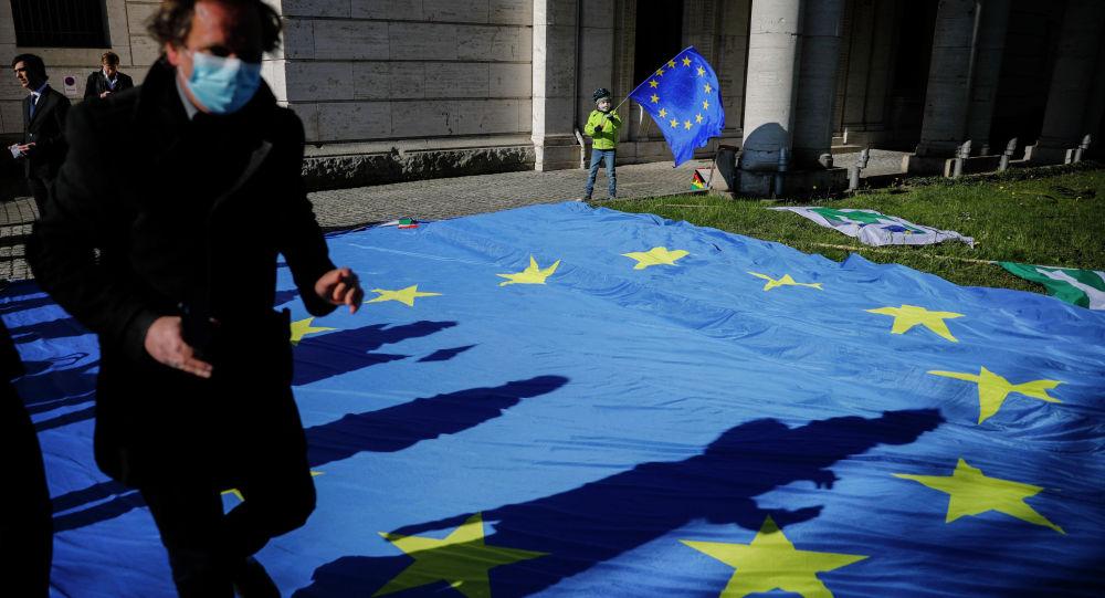 Мужчина в маске и ребенок с флагом Евросоюза. Архивное фото