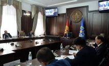 И.о. президента КР,  торага Жогорку Кенеша Талант Мамытов на сессии Совета коллективной безопасности ОДКБ в формате видеоконференции