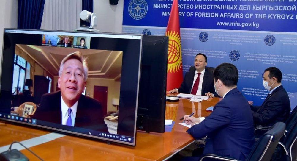 Видеоконференция Министра иностранных дел Кыргызстана Руслана Казакбаева с Послом США в Кыргызстане Дональдом Лу