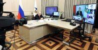 Председатель правительства РФ Михаил Мишустин принимает участие в режиме видеоконференции в в заседании Евразийского межправительственного совета стран Евразийского экономического союза (ЕАЭС).