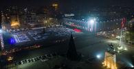 Вид с высоты на центральную площадь Ала-Тоо Бишкека ночью