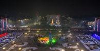 Горожане на церемонии зажжения главной новогодней елки на площади Ала-Тоо в Бишкеке. Архивное фото