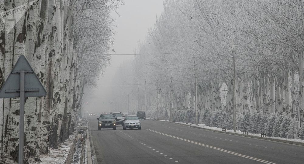 Автомобили на одной из улиц Бишкека в период аномальных холодов. Архивное фото