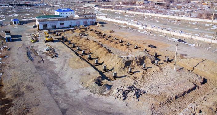Ход строительства мясокомбината предпринимателя Марата Зарыпбек уулув в городе Балыкчи
