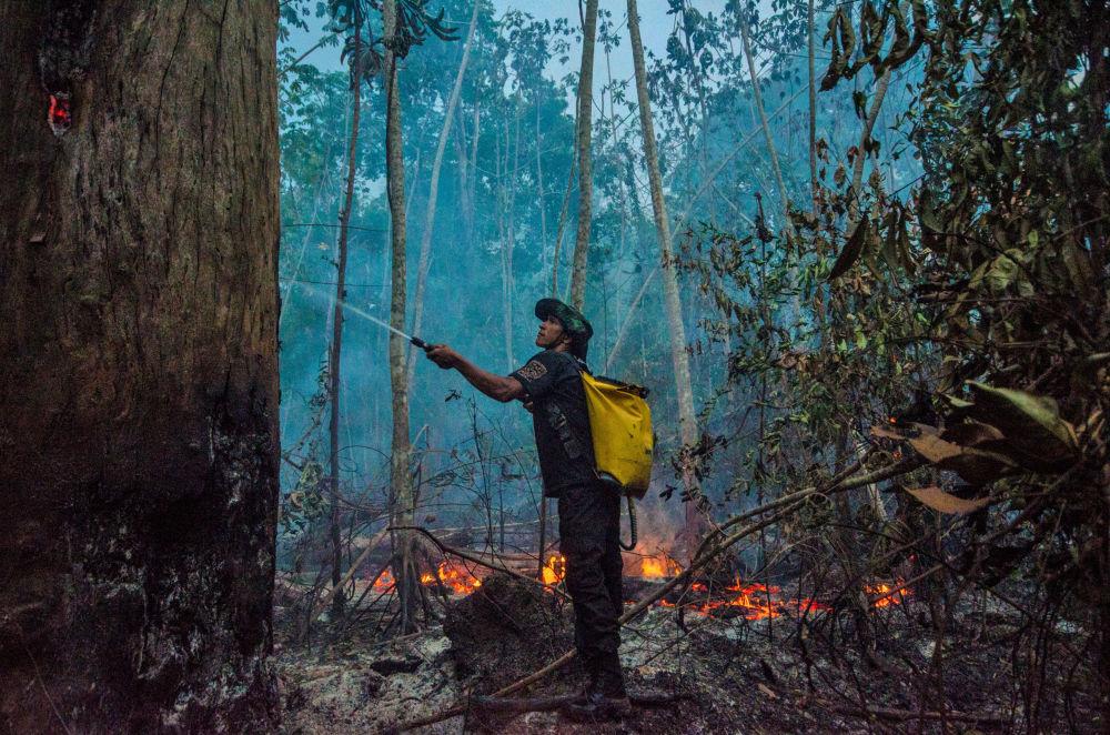 Бразилия токоюндагы өрттү өчүрүү учурунан тартылган кадр