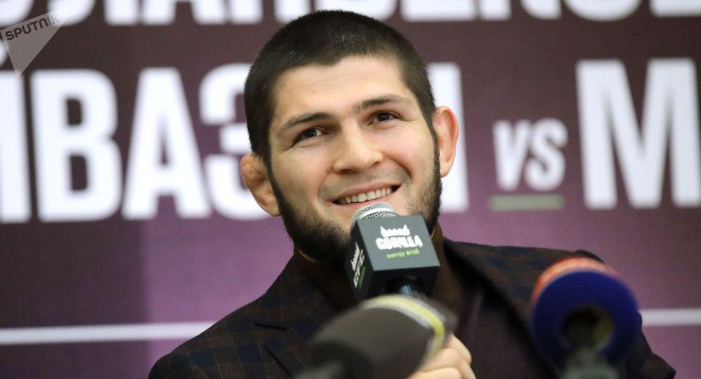 Боец смешанного стиля, бывший чемпион абсолютного бойцовского чемпионата (UFC) в легком весе Хабиб Нурмагомедов. Архивное фото