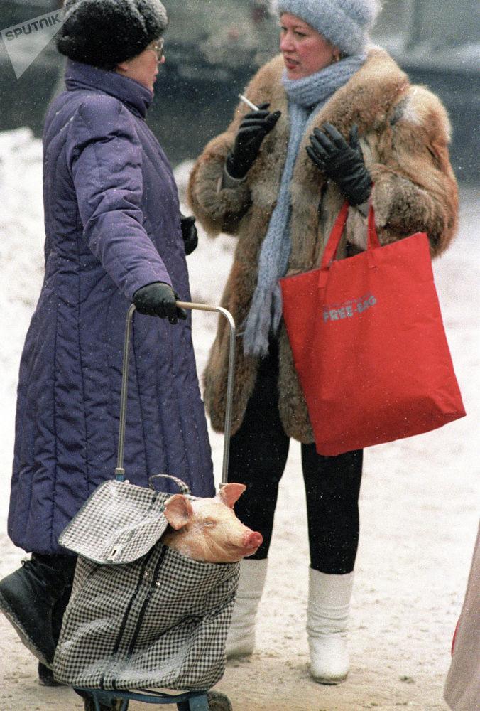 Жаңы жыл алдындагы Москва. Майрамдык дасторкон үчүн чочко сатып алган аял. 1987-жыл