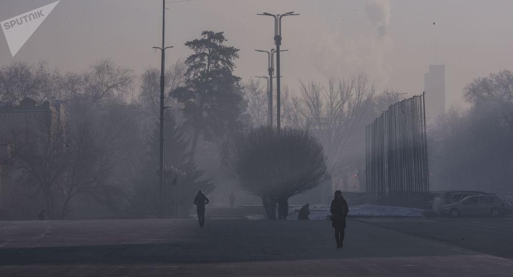 Прохожие на площади Ала-Тоо в Бишкеке во время сильных морозов. Архивное фото