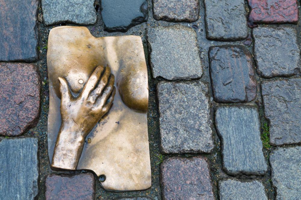 Памятник женской груди на булыжнике в районе красных фонарей в Амстердаме