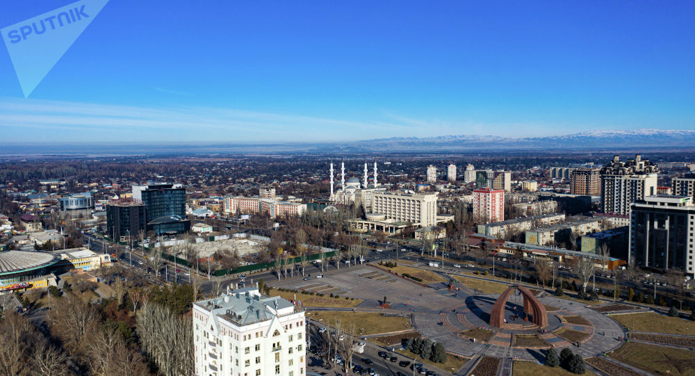 Вид на площадь Революции и центр Бишкека с дрона. Архивное фото