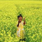 Девочка играет на горчичном поле в городе Муншигандж (Бангладеш) 08 января 2021 года