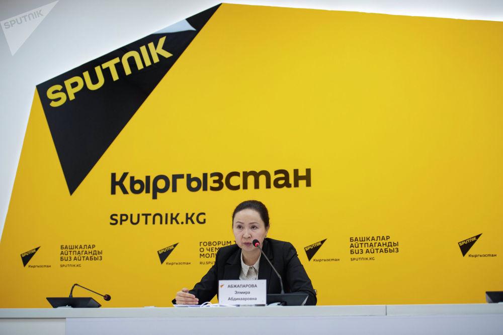Председатель правления ОАО Государственная ипотечная компания Элмира Абжапарова на брифинге в пресс-центре Sputnik Кыргызстан